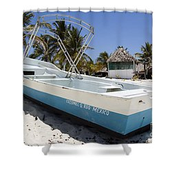 Shower Curtain featuring the photograph Cozumel Mexico Fishing Boat by Shawn O'Brien