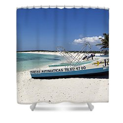 Shower Curtain featuring the photograph Cozumel Mexico Fishing Boats On White Sand Beach by Shawn O'Brien