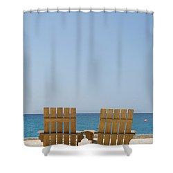 Shower Curtain featuring the photograph Cozumel Mexico Poster Design Beach Chairs And Blue Skies by Shawn O'Brien