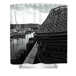 Crab Traps Shower Curtain by Darcy Michaelchuk