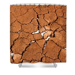 Shower Curtain featuring the photograph Cracked Red Soil  by Les Palenik