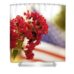 Crapemyrtle And Patriotic Proud Shower Curtain by Toni Hopper