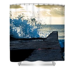 Crashing Blue Shower Curtain by Rene Triay Photography