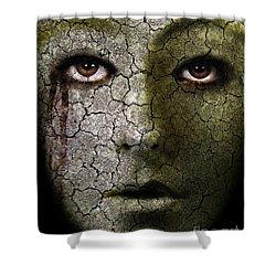 Creepy Cracked Face With Tears Shower Curtain by Jill Battaglia