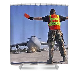 Crew Chief Marshals A C-5 Galaxy Shower Curtain by Stocktrek Images