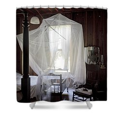 Crib With Mosquito Netting In A Florida Cracker Farmhouse Shower Curtain by Lynn Palmer