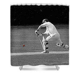 Cricketer In Black And White With Red Ball Shower Curtain