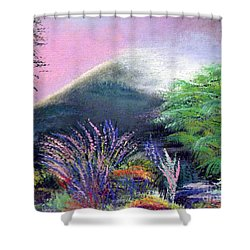 Shower Curtain featuring the painting Croagh Patrick by Alys Caviness-Gober