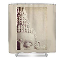 Cropped Stone Buddha Head Statue Shower Curtain by Lyn Randle