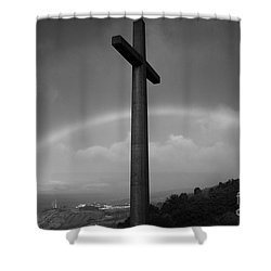 Cross And Rainbow Shower Curtain by Gaspar Avila