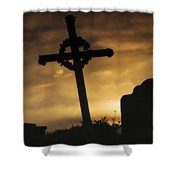 Cross At Sunset Shower Curtain by John Short