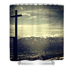 Cross In The Sky Shower Curtain by Joana Kruse
