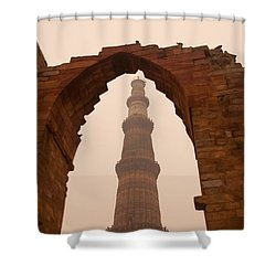 Cross Section Of The Qutub Minar Framed Within An Archway In Foggy Weather Shower Curtain