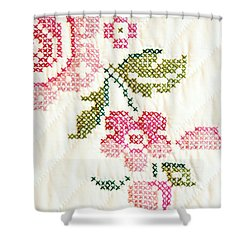 Cross Stitch Flower 1 Shower Curtain by Marilyn Hunt