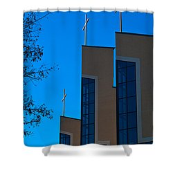 Shower Curtain featuring the photograph Crosses Of Livingway Church by Ed Gleichman