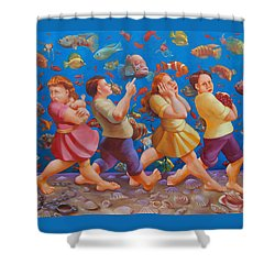 Crossing The Red Sea Shower Curtain by Rosemarie Adcock