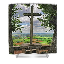 Shower Curtain featuring the photograph Crucifix Overlooking The French Countryside by Dave Mills