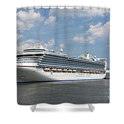 Cruise Ships At Cruiseport Boston Shower Curtain by Clarence Holmes
