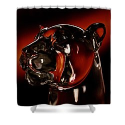 Crystal Cougar Head II Shower Curtain by David Patterson