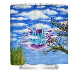 Crystal Hermitage Castle In The Clouds Shower Curtain by Ashleigh Dyan Bayer