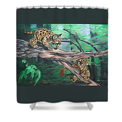 Cubs At Play Shower Curtain by Wendy Shoults