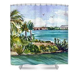 Shower Curtain featuring the painting Cudjoe Key Bridge by Clara Sue Beym