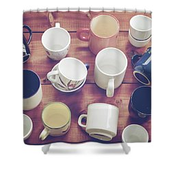 Cups Shower Curtain by Joana Kruse