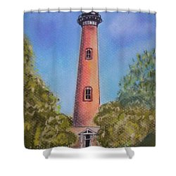 Shower Curtain featuring the pastel Currituck Lighthouse Nc by Julie Brugh Riffey