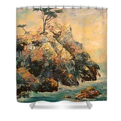 Cypress Tree Shower Curtain by Carolyn Jarvis