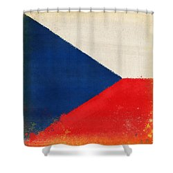 Czech Republic Flag Shower Curtain by Setsiri Silapasuwanchai