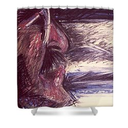 Dad Driving  Shower Curtain by Carrie Maurer