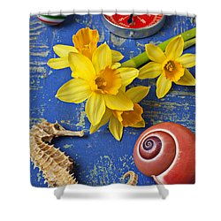 Daffodils And Seahorse Shower Curtain