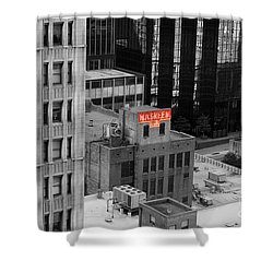 Shower Curtain featuring the photograph Dallas Texas Red Color Splash Black And White by Shawn O'Brien