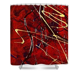Shower Curtain featuring the painting Dancing Gold by Carolyn Repka