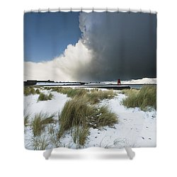 Dark Clouds And Blue Sky Over A Red Shower Curtain by John Short