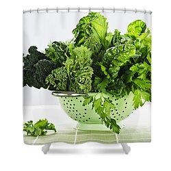Dark Green Leafy Vegetables In Colander Shower Curtain