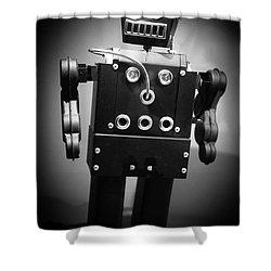 Dark Metal Robot Shower Curtain by Edward Fielding