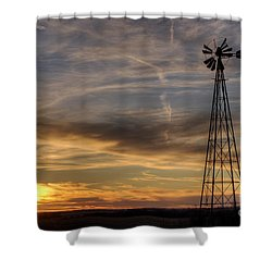 Shower Curtain featuring the photograph Dark Sunset With Windmill by Art Whitton