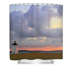Dawn At Long Point Lighthouse Shower Curtain by Roupen  Baker