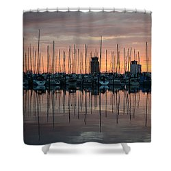 Dawn At The Marina Shower Curtain