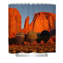 Dawn Flight In Monument Valley Shower Curtain by Vivian Christopher