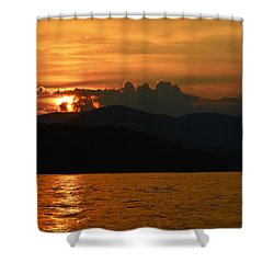 Day Ends In Orange Shower Curtain by Susan Leggett