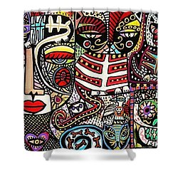 Day Of The Dead Cats Shower Curtain by Sandra Silberzweig