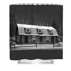 Days Of Yore Log Cabin Shower Curtain by John Stephens