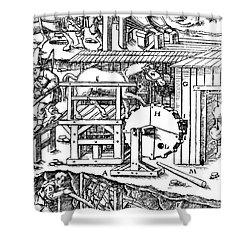 De Re Metallica, Ventilation Of Mines Shower Curtain by Science Source