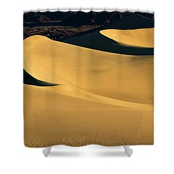 Death Valley And Photographer In Morning Sun Shower Curtain