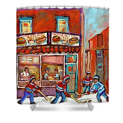 Decarie Hot Dog Montreal Restaurant Paintings Ville St Laurent Streets Of Montreal Paintings Shower Curtain by Carole Spandau