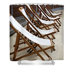 Deckchairs Shower Curtain by Carlos Caetano