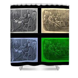 Declaration Of Independence In Quad Colors Shower Curtain by Rob Hans