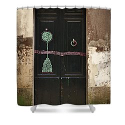 Decorated Door Shower Curtain by Mary Machare